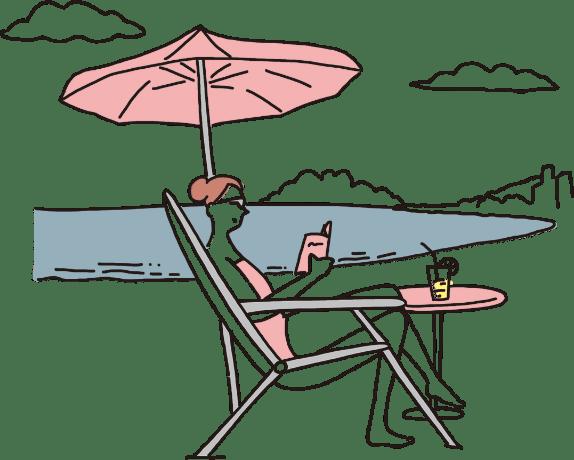 海辺でくつろぐ女性の絵